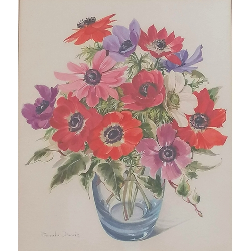 49 - Pamela Davies, STILL LIFE OF FLOWERS, watercolour, framed and mounted, signed, 32 x 26 cm...