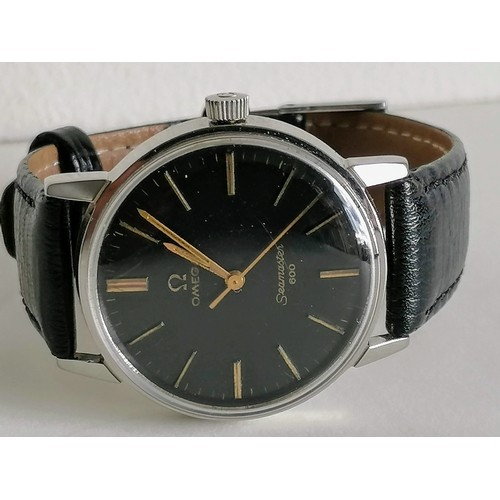3 - A 1960s Omega Seamaster 600 wristwatch stainless steel with Omega leather strap, diameter 33mm,  bla...