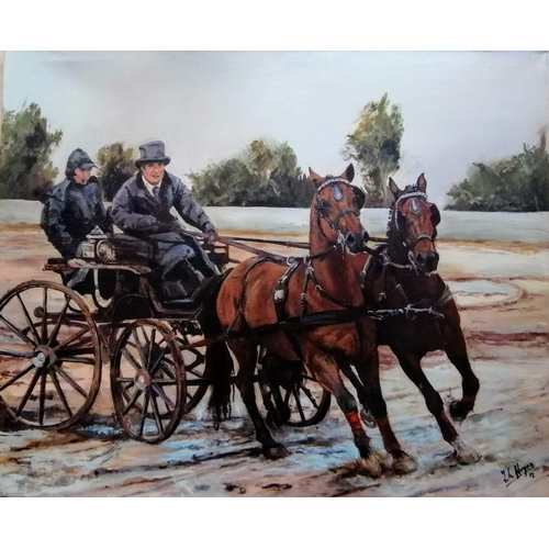 32 - J. de Hoyes (Spanish, 20th century) HORSES AND WAGON, oil on canvas, 81 x 100 cm, unframed, signed a...