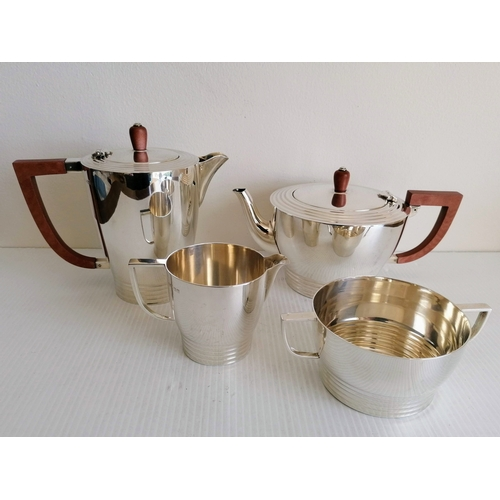 107 - An Art Deco silver four-piece tea/coffee service by Alvic Products Ltd., Birmingham, 1947, 1119g...