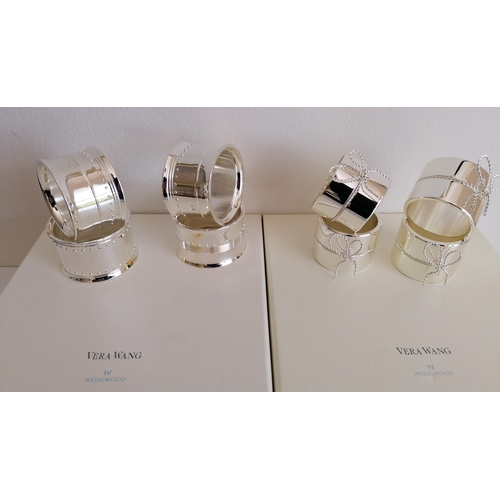 108 - Two boxed sets of four Vera Wang Wedgwood silver plated napkin rings (2)...