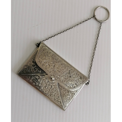 105 - A George V silver card or cocktail purse with seaweed etched decoration by Adie & Lovekin Ltd., Ches...