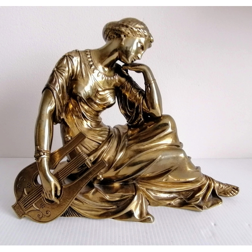 92 - A bronze patinated figure of seated Sappho with lyre, signed Rlay to base, 24 cm W x 30 cm H...