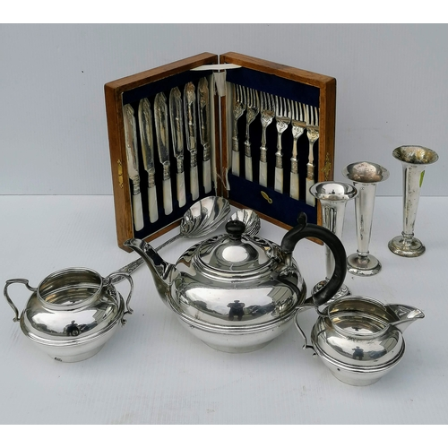 104 - A selection of silver plate including a tea set, tray, tazza, flatware, etc...