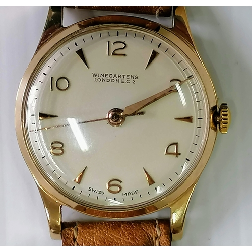 18 - A vintage 9ct gold-cased gents manual watch by Winegartens, London, Arabic numerals, dial 30mm, Swis...