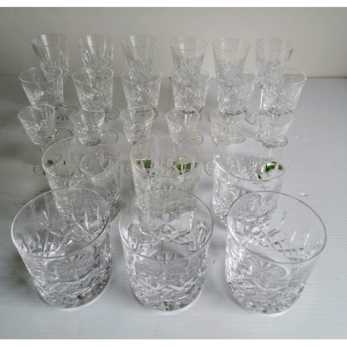 85 - A set of six Waterford Crystal whisky tumblers, six sherry, each 11 cm H; six liqueur, 9 cm H; and s...