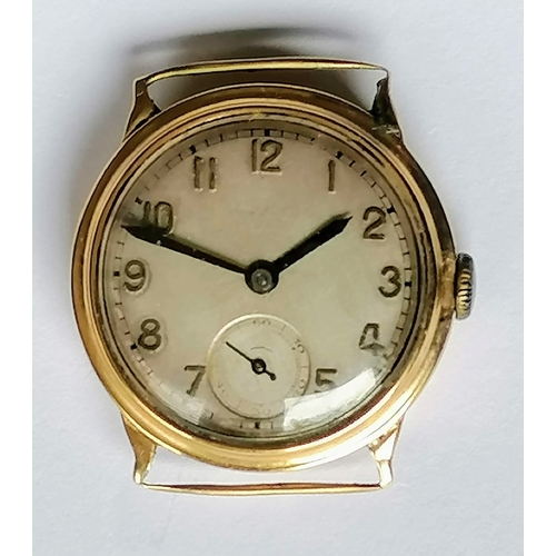 8 - A 9ct gold cased wristwatch by Herbert Wolf Ltd, Arabic numerals, 30mm dial, subsidiary seconds hand...
