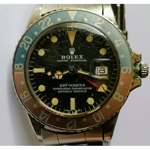 7 - A Rolex Oyster Perpetual GMT-Master, ref. 1675, a stainless steel bracelet watch, no. 3030523, circa...