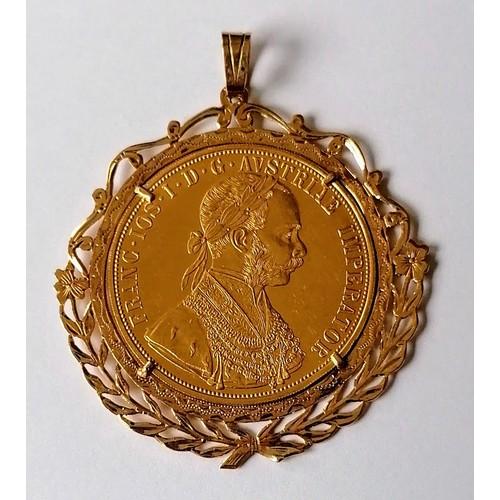 A 1915 Austrian 4 Ducat gold coin in a pendant mount, 19.8g gross