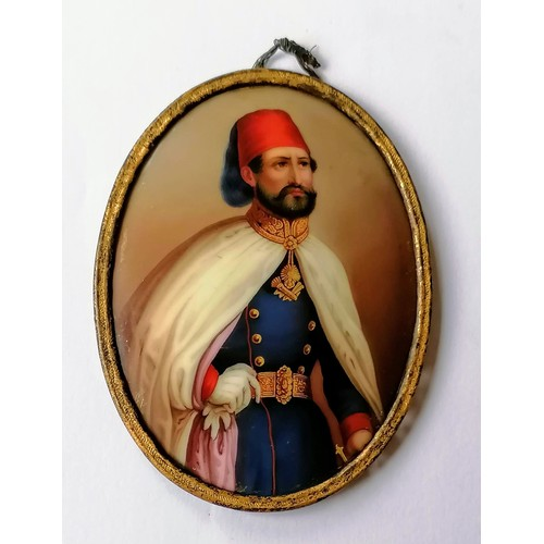 41 - A 19th century oval miniature portrait of Omar Pasha, Commander of the Imperial Ottoman Company, oil...