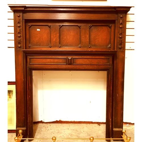 10 - Ed Carved Oak Fire Surround 160cm wide x 188cm high...