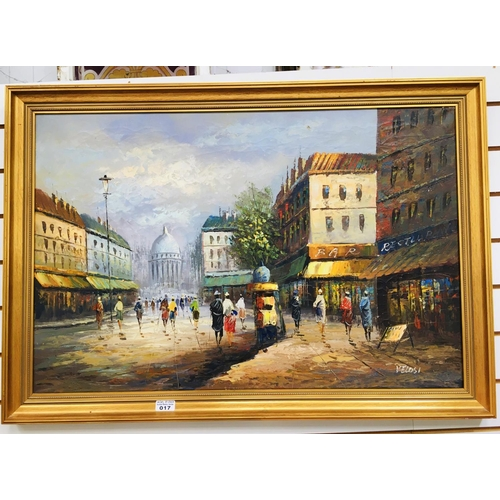 17 - Gilt framed oil painting 100x700cm...