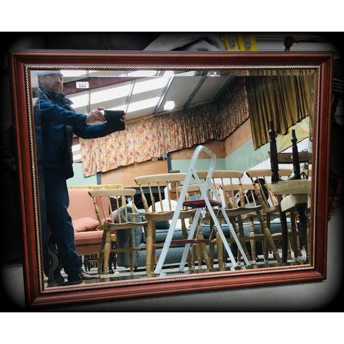 20 - Mahogany Framed Bevelled Mirror 114x900cm...