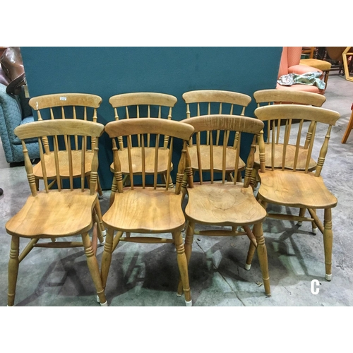 Set of 8 Matching Old Style Kitchen Wooden Chairs