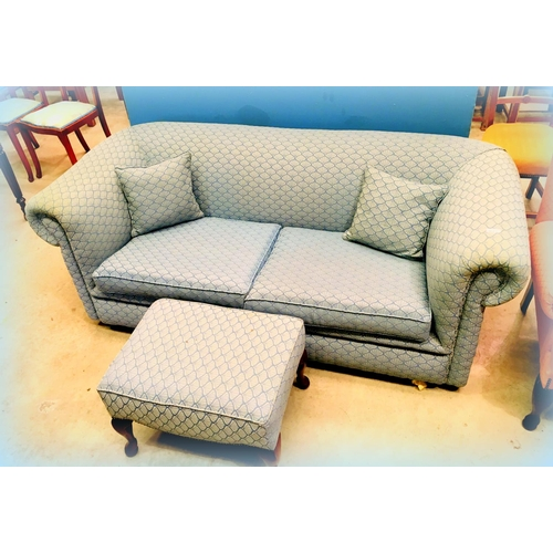 23 - Green Upholstered Modern Chesterfield Couch & Footstool...