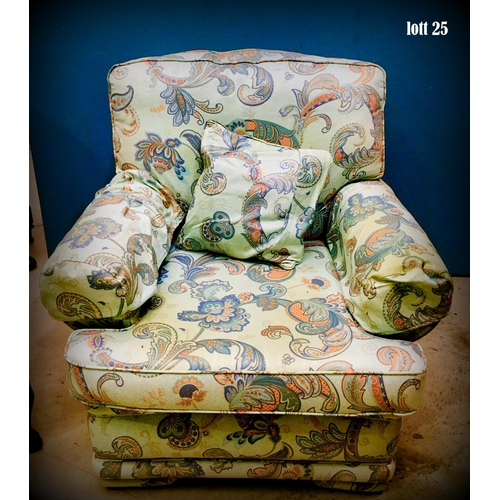 25 - Floral Upholstered Single Armchair...