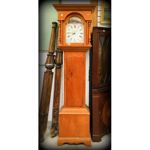 28 - Pine framed Quartz Grand Father Clock...