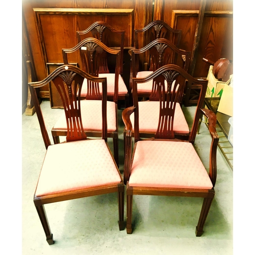 33 - Set of Mah 4+2 shield Back Dining Chairs...