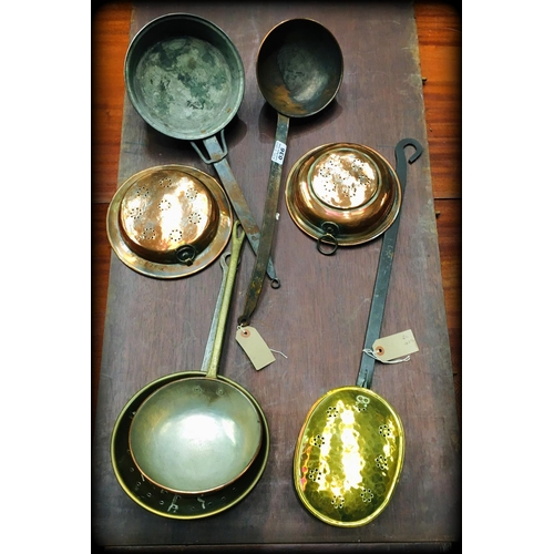 36 - 7 Misc Copper & Brass Pans & Strainers...