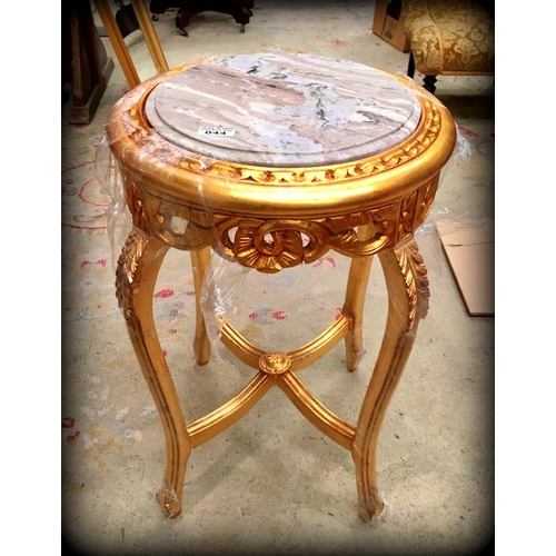 44 - Round Marble Gilt Top Plant Stand...