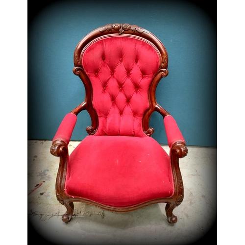 46 - Mah Vict Style Gentleman's Chair...