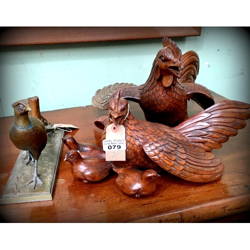Carved Fowl & Bronze Pheasant on marble base