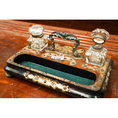 Vict Brass Mounted Desk Set