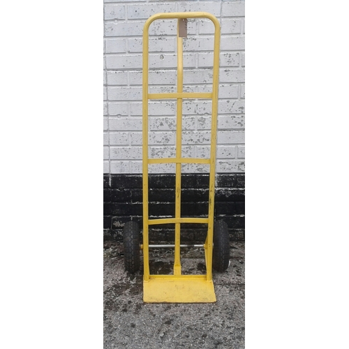 18 - A yellow painted metal sack truck....