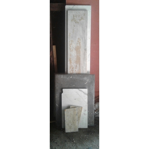6 - Three long lengths of various marble offcuts and  three similar rectangular pieces ....