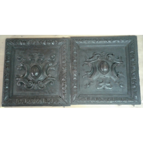 34 - Two Victorian carved  oak panelled doors from a court cupboard and a rectangular trivet....