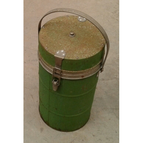 43 - An early thermos style hot beverage storage flask with handle....