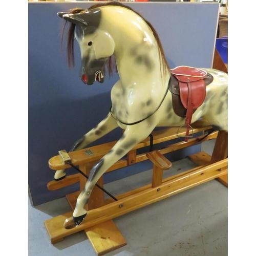 12 - A GENUINE DAPPLE GREY 'HADDON' ROCKING HORSE...