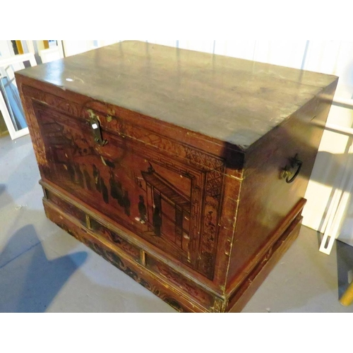 37 - A VINTAGE CHINESE MARRIAGE CHEST...