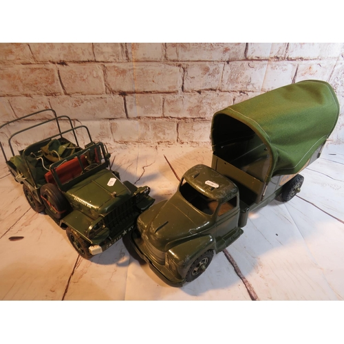 111 - A VINTAGE METTOY - MILITARY WAGON AND ASSOCIATED METAL MILITARY VEHICLE...