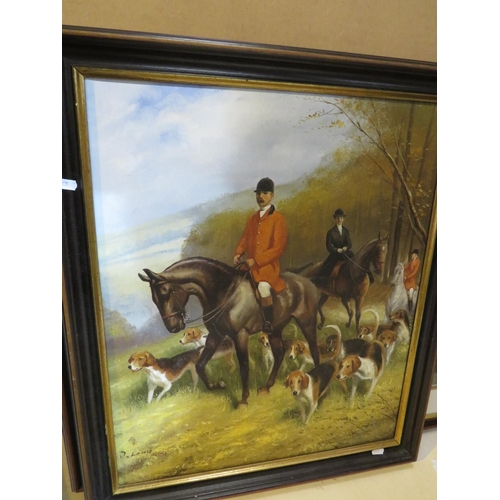 485 - A FRAMED OIL ON CANVAS - FOX HUNTING SCENE - SIGNED D. LONG...