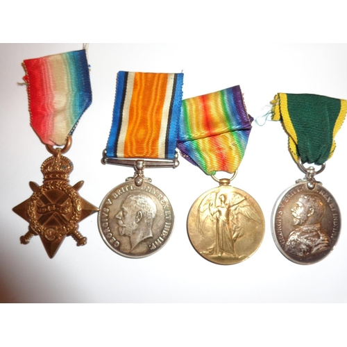 15 - WWI 1914/15 Star, British War Medal, Allied Victory Medal and Territorial Force Efficiency Medal - a...