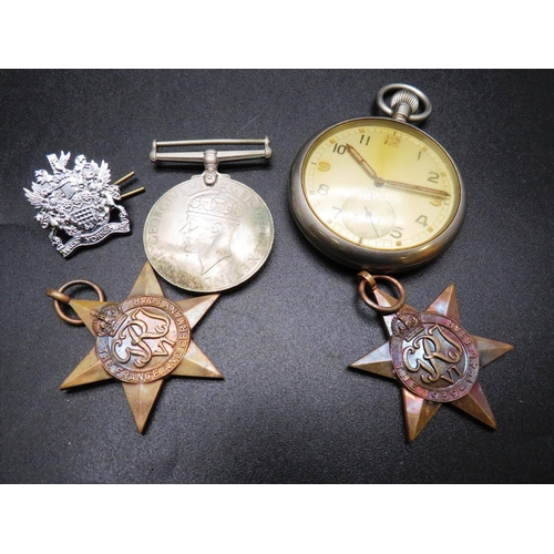 220 - A WWII ERA - BRITISH MILITARY ISSUE - 'DOXA' POCKET WATCH AND ASSOCIATED MEDALS...
