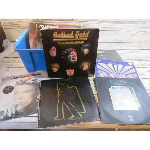 255 - APPROXIMATELY FIFTY VINYL LP RECORDS - INCLUDING DAVID BOWIE, THE ROLLING STONES, T.REX AND LED ZEPL...
