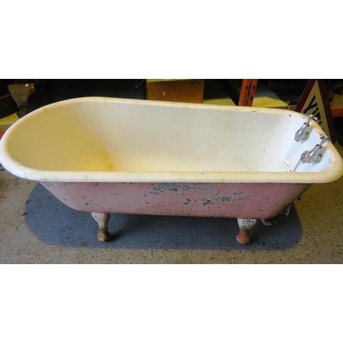 62 - A VINTAGE CAST METAL AND ENAMEL BATH...