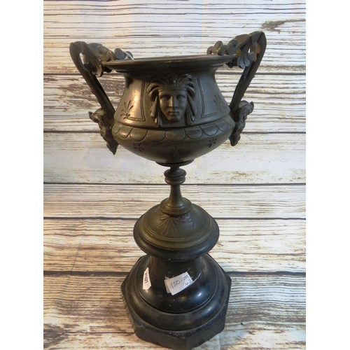 412 - ANTIQUE FRENCH - BRONZE URN ON MARBLE BASE -  CIRCA 1910...