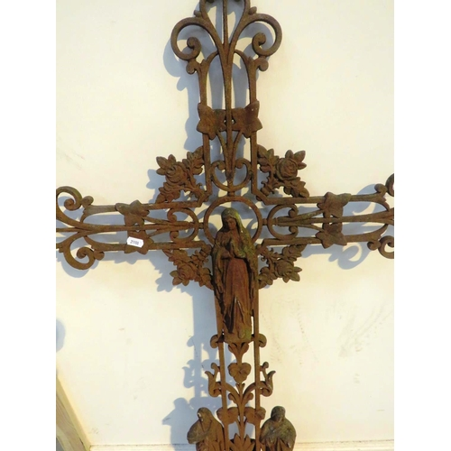 158 - A LARGE CAST METAL - CHURCH ARCHITECTURAL FEATURE -  OF A CROSS AND THE VIRGIN MARY...