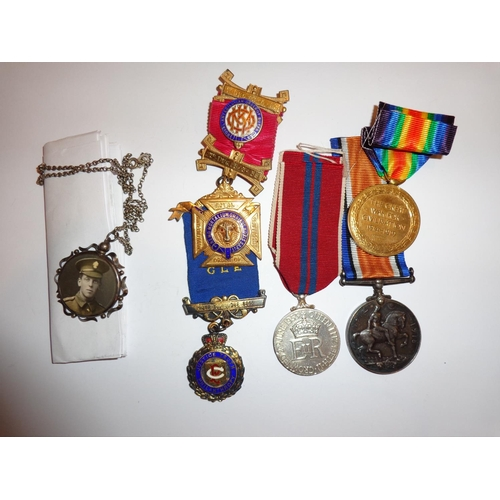 17 - WWI group comprising of British War Medal, Allied Victory Medal, Coronation 1953 Medal, two R.A.O.B....