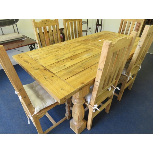 32 - A CONTEMPORARY - SOLID COUNTRY PINE - TABLE AND SIX CHAIRS...