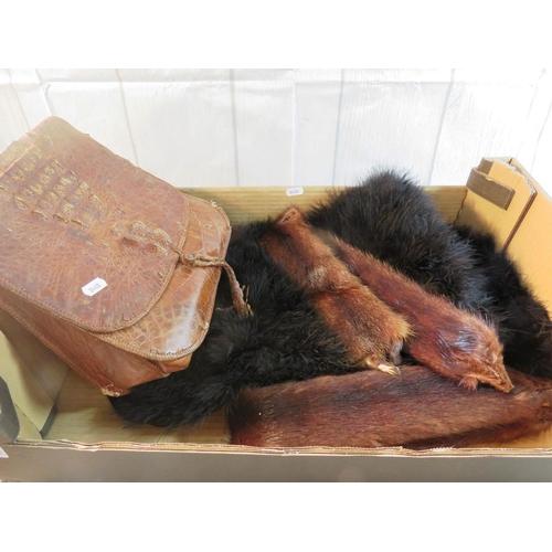 579 - A CROCODILE SKIN HANDBAG - OSTRICH FEATHER STOLE - AND ANIMAL STOLE...
