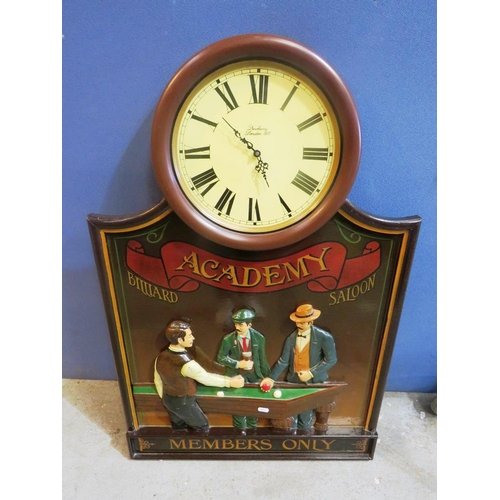 62 - A BILLIARDS THEMED - CLOCK AND SIGN...