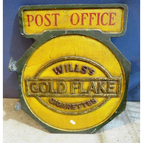 167 - A CAST IRON - DOUBLE SIDED - POST OFFICE ADVERTISING SIGN - WILLS GOLD FLAKE CIGARETTES...