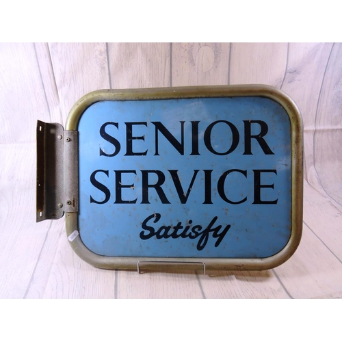 180 - A VINTAGE DOUBLE SIDED - NELSON TIPPED CIGARETTES AND SENIOR SERVICE - TOBACCONISTS SHOP SIGN...