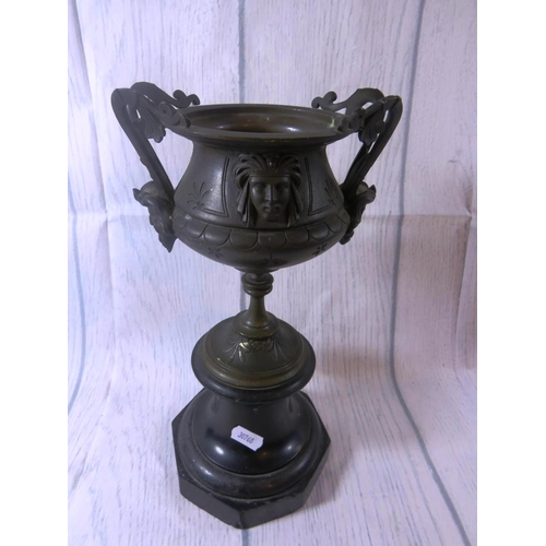 187 - ANTIQUE 19TH CENTURY - BRONZE CHALICE - ON MARBLE BASE - WITH MYTHICAL CHARACTER DETAILING...