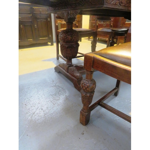 124 - A SOLID WOOD - DINING TABLE AND FOUR CHAIRS...