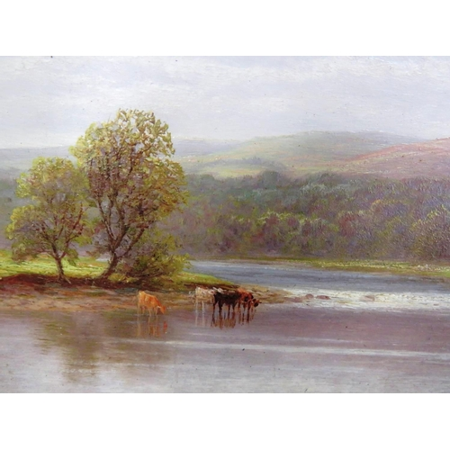 110 - WILLIAM MELLOR (1851 TO 1931) - TWO FISHERMAN ON RIVER OVER LOOKING CATTLE DRINKING - SIGNED BY THE ...